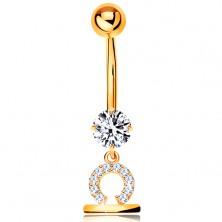 375 gold bellybutton piercing - clear zircon, shiny symbol of zodiac sign - LIBRA