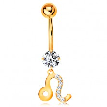 Bellybutton piercing made of yellow 375 gold - clear zircon, symbol of zodiac sign - LEO