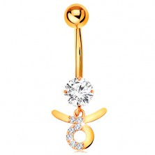 Bellybutton piercing made of yellow 9K gold - clear zircon, symbol of zodiac sign TAURUS