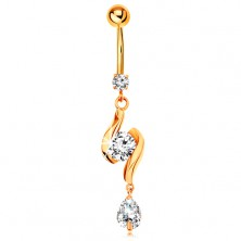 585 gold bellybutton piercing - two shiny waves with zircon in the middle and teardrop