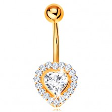 Bellybutton piercing made of yellow 14K gold - clear zircon heart lined with zircons