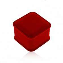 Velvet box for ring or earrings, angular shape, red hue