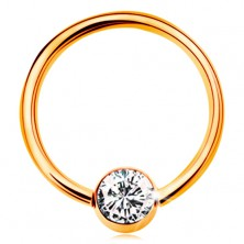 585 gold piercing - circle with ball and embedded clear zircon, 12 mm