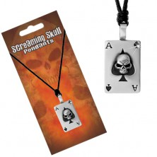 Necklace - adjustable black string with pendant, ace of spades with skull