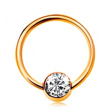 Piercing made of yellow 14K gold - shiny circle with ball and clear zircon, 10 mm