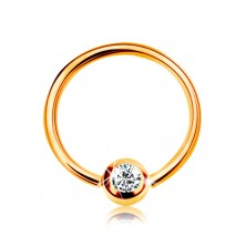14K gold piercing - shiny circle and ball with embedded zircon in clear colour, 8 mm