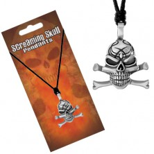 String necklace, patinated pendant of skull with crossbones