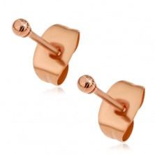 Stud steel earrings in copper colour, tiny shiny balls, 2 mm