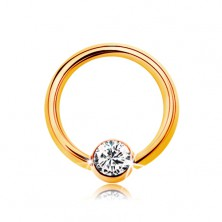 Piercing made of yellow 14K gold - small circle with ball and clear zircon, 6 mm