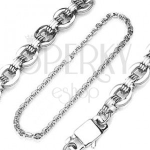 Surgical steel chain with pattern of big oval links and notches