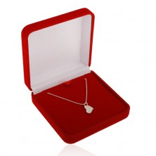 Red gift box for chain or necklace, velvet surface