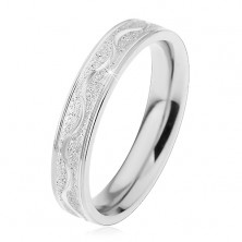 Steel ring in silver colour, sanded strip with shiny wave, 4 mm