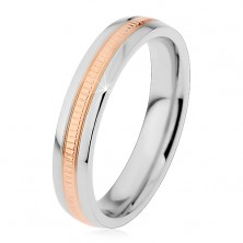 Bicoloured ring made of 316L steel, notched line, smooth borders, 4 mm