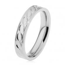 Steel ring in silver hue, engraved motif of waves, 4 mm