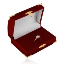 Velvet claret box for set - chest, details in gold colour
