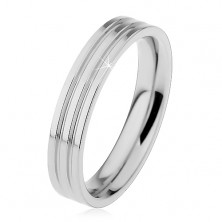 Shiny ring made of 316L steel in silver colour, two lengthwise notches, 4 mm