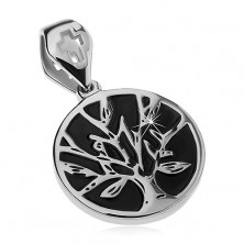 Steel pendant in silver colour, black circle with tree of life, cutout cross