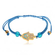 Adjustable bracelet for wrist made of blue strings, Hamsa symbol, clear zircons