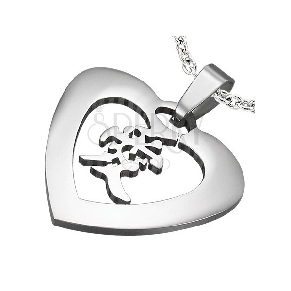 "Steel pendant of silver colour - heart with the Chinese sign for ""love"""