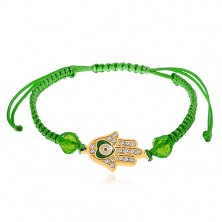 String bracelet in green colour, Fatima's hand, clear zircons, beads