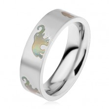Steel ring with matt surface and motif of elephants, 6 mm