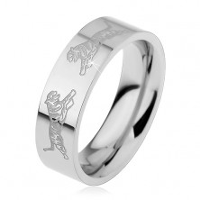 Ring made of surgical steel, silver colour, two tigers facing each other, 6 mm