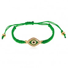 Plaited bracelet in dark green colour, symbol of eye decorated with clear zircons