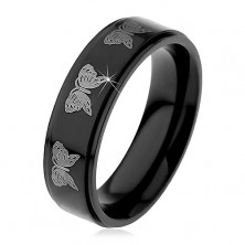 Black steel ring, imprint of butterflies in silver colour, 6 mm