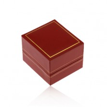 Gift box for ring, dark red synthetic leather surface, border in gold colour