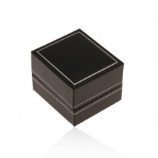 Black synthetic leather box for ring, thin border in silver hue