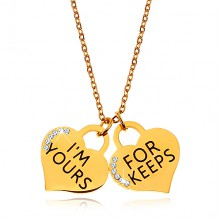 Steel necklace in gold colour, two heart-shaped pendants with inscriptions and zircons