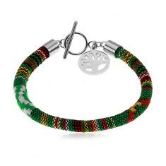 Bracelet Pendant Bracelets braded jewelry eshop green bracelet embroidered with coloured threads steel pendant tree of life audiocablefo