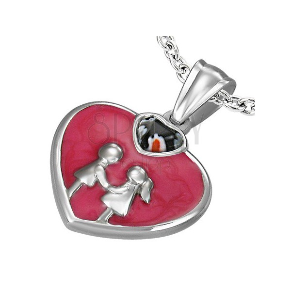 Stainless steel pendant - red enamel heart
