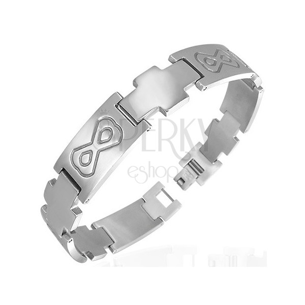 Steel linked bracelet with mask and cross
