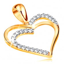 Pendant made of yellow 14K gold - double heart contour, line of clear zircons