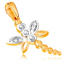 585 gold pendant - bicoloured dragonfly decorated with glossy zircons