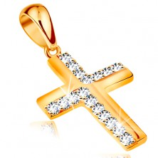 585 gold pendant - Latin cross adorned with lines of zircons in clear colour
