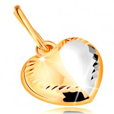 Pendant made of 14K gold - bicoloured heart with line in the middle and notches along the perimeter