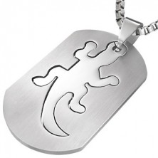 Stainless steel tag pendant - lizard