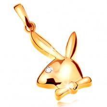 Pendant made of yellow 14K gold, shiny head of Playboy bunny, zircon eye