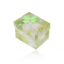 Green-white box for ring or earrings, imprint of trefoils, bow