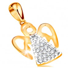 Bicoloured pendant made of 14K gold - angel with cutout wings, clear zircons