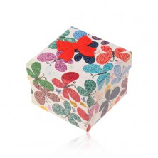 Gift box for ring or earrings, coloured butterfly with ornaments