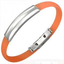 Flat rubber bangle - plate, orange colour
