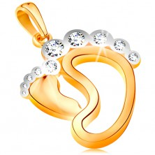Pendant made of 585 gold - small foot, contour of bigger foot, zircon toes