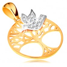 Bicoloured pendant made of 585 gold - tree of life in circle, clear zircon bird
