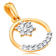 14K gold pendant - thin hoop, glossy flower and arc composed of clear zircons