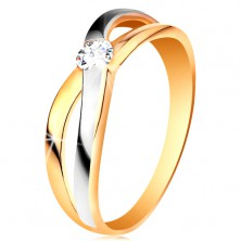 Ring made of 585 gold - round clear zircon, divided intersecting shoulders