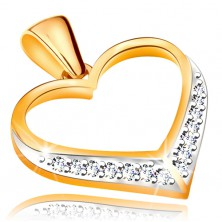 Pendant made of 14K gold - contour of symmetric heart, zircons in the bottom part