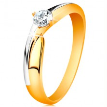 Ring made of 14K gold - bicoloured shoulders, glossy zircon in clear colour